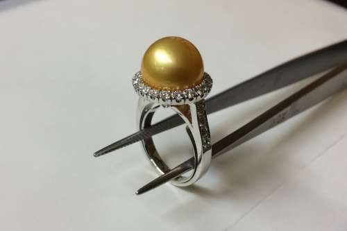 Anello con Perla Gold - Ring Australian Gold pearl